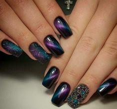 ombre nails verzierungen cat eye nägel #nail #design