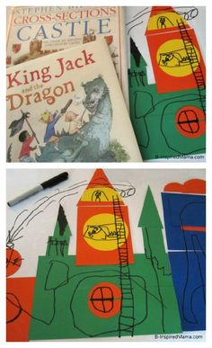 Kids explore shapes & line with this fun Castle Craft inspired by childrens books about castles & kings. Poppins Book Nook book club at B-InspiredMama.com.