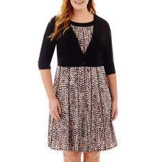 Perceptions Elbow-Sleeve Knit Jacket Dress - Plus  found at @JCPenney