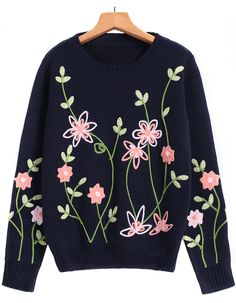 Shop Royal Blue Long Sleeve Embroidered Knit Sweater online. Sheinside offers Royal Blue Long Sleeve Embroidered Knit Sweater & more to fit your fashionable needs. Free Shipping Worldwide!