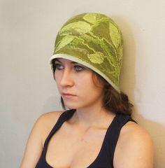Nuno Felted Hat  Art To Wear  Apple green Hand made, OOAK