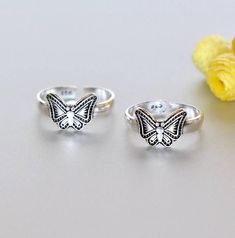 Shop unique handmade goods from OneYellowButterflyy. Sterling Silver Toe Rings, Silver Jewelry, Silver Rings, Ethical Fashion, Unique Fashion, Toe Ring Designs, Toe Band, Cufflinks, Artisan