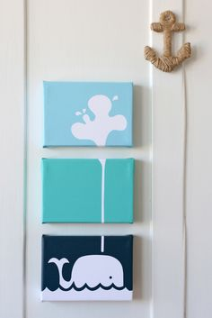 CUTE! I wanna make this for Brad's beach bathroom!! Image of Spouting Whale Stretched Canvas Artwork