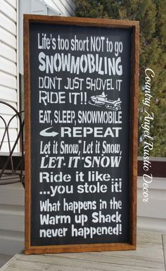 rustic SNOWMOBILE Sign Mancave Sign by CountryAngelRustic on Etsy