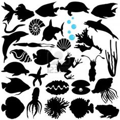 Illustration of A Vector Silhouette of Fish, Sealife, (Marine life, seafood) vector art, clipart and stock vectors. Silhouette Painting, Animal Silhouette, Silhouette Vector, Flora Und Fauna, Kirigami, Marine Life, Sea Creatures, Vector Art, Vector Stock