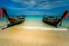 Thai classics - This picture was taken on the Koh Phi Phi.  The only way to get to this beach was to take a longtail boat. These boats are characteristic landmarks in southern Thailand.