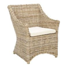 "Invite fresh spring style into your home with this eye-catching design, artfully crafted for lasting appeal.    Product: Arm chair    Construction Material: Kubu, rattan and cotton    Color: White-washed and cream     Features: Cushion included    Dimensions: 40.2"" H x 18.5"" W x 23.2"" D    Cleaning Instructions: Dust regularly with small brush or vacuum. Spills should be taken care of immediately before they harden or stain with a slightly dampened sponge.              Shipping: This item…"