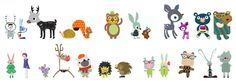 """pop & lolli """"fantasy forest critter"""" fabric wall decals"""