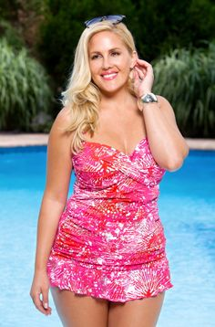 Sparkle and shine in this slimming 2 piece plus size tankini from the Always For Me Chic Prints swimwear collection