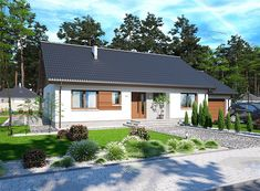 Projekt domu Tamara modern 111,42 m2 - koszt budowy - EXTRADOM Minimalist House Design, Minimalist Home, Modern House Design, Village Houses, Facade House, Home Fashion, Gazebo, Home And Garden, Exterior