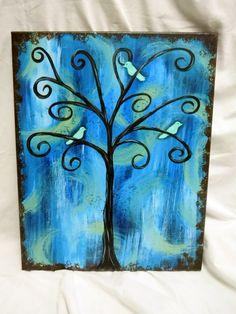 Whimsical Birds in a Tree Wall Art blue teal by STROKESofFAITH, $35.00