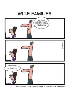 Geek & Poke made our Friday that much funnier! We love AGILE humour. Agile User Story, Computer Jokes, Programming Humor, Computer Programming, Manager Humor, Software Testing, Software Development, Tech Humor, Career Exploration
