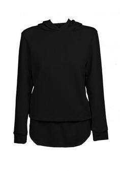 Bluza czarna z kapturem. Świetna dla kobiet aktywnych, żyjących w ruchu, które dbają o swój wygląd. #MODLISHKA