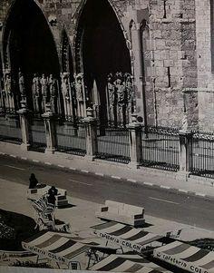 Leon, fotos antiguas, plaza de la catedral.