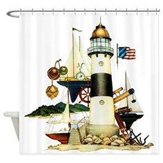 Shower Curtain Nautical Lighthouse Telescope Anchor  It is easy to find the perfect gift for lighthouse lovers when you know they love lighthouse home décor and accents that make them think of lighthouses.  Lighthouses are nostalgic, historic and adorable which is a great reason to find inspiration by this type of sea side home décor.   Lighthouse home décor can be used in any room of the home and is the perfect theme to center your home decoration around.