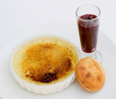 Pistachio Creme Brulee Served with a lemon financier and sour cherry ...