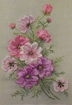 silk ribbon embroidery how to Ribbon Embroidery Tutorial, Flower Embroidery Designs, Hand Embroidery Stitches, Silk Ribbon Embroidery, Hand Work Embroidery, Cross Stitch Embroidery, Embroidery Patterns, Machine Embroidery, Ribbon Art