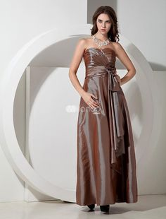 Elegant Brown Taffeta Sweetheart Bridesmaid Dress. Strapless dresses are one of the sexier styles on the market today. They show just enough skin to be classy without being too revealing. This one features a bodice with a wrapped pattern and sweetheart neckline. The wrapped w.. . See More Bridesmaid Dresses at http://www.ourgreatshop.com/Bridesmaid-Dresses-C926.aspx
