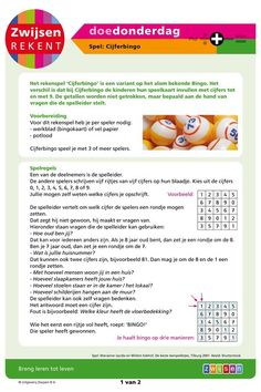 #DoeDonderdag Zwijsen Rekent Math Challenge, Mathematics, School, Maths, Circuit, Kids, Math, Young Children, Children