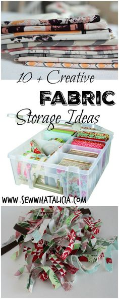 10+ Creative Fabric Storage Ideas | Here are some ideas for storing all those different types of fabric! Fat quarters, pre cuts, and yardage can all come together in harmony with these storage ideas! www.sewwhatalicia.com