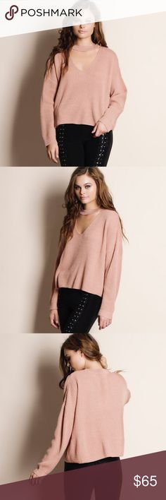 """Cut Out Choker Sweater Top Cut out choker sweater. This is an ACTUAL PIC of the item - all photography done personally by me. Model is 5'9"""" 32""""-24""""-36"""" wearing the size small. NO TRADES DO NOT BOTHER ASKING. PRICE FIRM. Bare Anthology Sweaters V-Necks"""