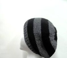 Beanie Gray Black Stripes Hat Beret knit Slouch hat by CaboDesigns, $26.00