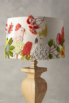 Embroidered Cockatoo Lamp Shade - make with fabric glued to the lamp shade