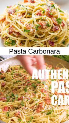 Pasta Sauce Recipes, Pasta Dinner Recipes, Spaghetti Recipes, Seafood Recipes, Healthy Dinner Recipes, Chicken Recipes, Cooking Recipes, Chicken Carbonara Pasta, Chicken Bacon Pasta