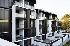 The Village @ Coorparoo, Brisbane - Retirement Village by S3 Architects Building 1 - Internal Village Elevation with Ground Floor Terraces