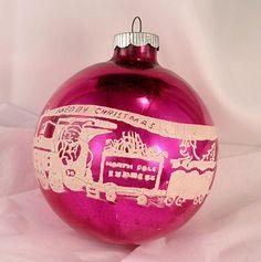 Vintage LARGE Shiny Brite Fuchsia Glass Christmas Santa Train Stencil Ornament