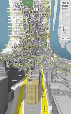 Visual Design and Composition Lessons from 30 Beautiful Maps – Design School 3d Data Visualization, Manhattan Map, Lower Manhattan, Plakat Design, Graphisches Design, Information Design, Design Graphique, Urban Planning, Photomontage
