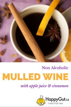 Non Alcoholic Mulled Wine Vegan and gluten free and made with apple juice and grape juice. #virgin #virgindrinks #kidfriendlydrinks