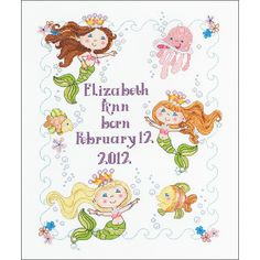 The Mermaid Bay Counted Cross Stitch Birth Record Kit from Bucilla includes 14-count white Aida, cotton floss, floss separator, embroidery needle, chart and instructions.  Mermaid Bay is a cute under-the-sea themed embroidery design.  Foundation fabric is 100% cotton Aida.  $17.95