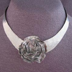 choker necklace, silver jewelry, silver choker, silver necklace, flower necklace, modern jewelry, modern choker, metal choker, jewelry gifts