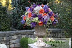 Lush purple and soft orange wedding flowers for wedding ceremony, Dallas wedding flowers by AntebellumDesign.com