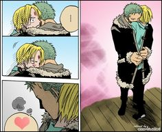 Sanji, Zoro, yaoi, heart, coat, cute, comic, blood; One Piece