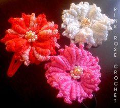 ... CROCHET /: Flor de Crochê em Ponto Rococó - Bullion Stitch Crochet