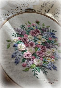Bullion Embroidery, Rose Embroidery, Silk Ribbon Embroidery, Embroidery Hoop Art, Embroidery Stitches, Floral Embroidery Patterns, Embroidery Flowers Pattern, Hand Embroidery Designs, Stitch Games