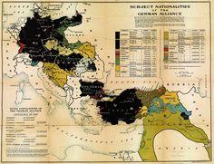 U.S. propaganda map of the German Alliance territories during World War I