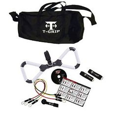 Fitness bundle, home gym, set of three resistance bands with handle and travel bag, bonus training DVD. #tgripmax #homegym #resistancebands #fitnessequipment
