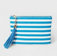 8da0c289692a A New Day Women s bright blue and white striped Tassel Pouch Target bag  cute happy purse for summer! Would make a good travel case