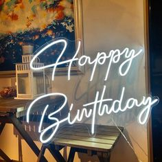 Sign Letter: Happy Birthday Color: Cool White Backing material: Acrylic Backing color: Transparent Installation method: Hanging OR Mount This is a flex LED Neon sign, having same effect as a real glass neon sign, LED neon is completely safe and non frangible. It is a better choice for large text Happy Birthday Signs, 21st Birthday, Birthday Ideas, Birthday Celebration, Neon Sign Bedroom, Neon Lamp, Custom Neon Signs, Neon Light Signs, Led Signs