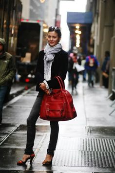 white shirt, grey scarf, black jacket, skinny pants, red heels, red bag