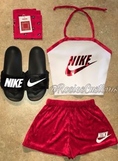 Nike Inspired Sommer-Outfit-Set # - New Ideas Cute Nike Outfits, Cute Lazy Outfits, Sporty Outfits, Girly Outfits, Trendy Outfits, Summer Outfits, Teen Fashion Outfits, Outfits For Teens, Cute Sleepwear