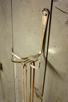 Fork Necklace Holder (TM)- Repurposed Fork - Vintage Gift - For Such A Time Designs Original 2012. $18.00, via Etsy.