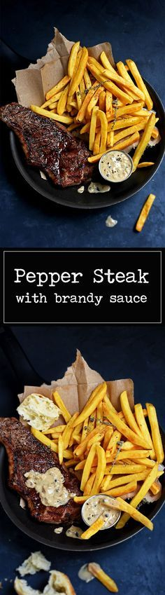 Pepper Steak with Brandy Sauce - A classic of Bistro-style French Cuisine. A thick and juicy steak & a creamy peppercorn sauce ... Magnifique ! | www.pardonyourfrench.com