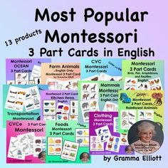 Montessori 3 Part Cards in English - Bundle of Most Popular Resources