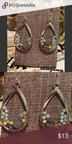 Gray & Purple Semi Precious Stone Drop Earrings Gray & Purple Semi Precious Stone Wire Wrapped Drop Earrings 602-01 Jewelry Earrings
