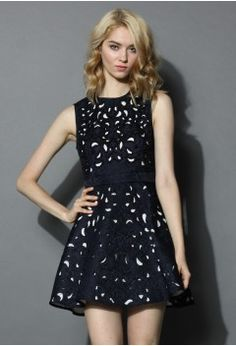 Eternal Charm Beads Cutout Embossed Dress in Navy - Retro, Indie and Unique Fashion