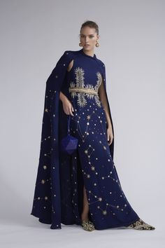 M'O Exclusive Midnight Constellation Cape Caftan by CUCCULELLI SHAHEEN for Preorder on Moda Operandi Dress Robes, Dress Outfits, Dress Up, Swag Outfits For Girls, Girl Outfits, Elie Saab Couture, Royal Dresses, Fantasy Dress, Royal Fashion